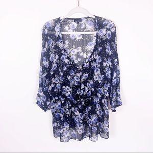 City Chic | Blue Floral Sheer Cinch-Waist Tunic 16